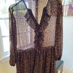 Zara dress boho style- leopard print